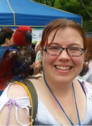 with a bird